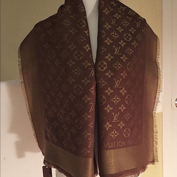 d93d00858aa1b Louis Vuitton Accessories | Lv Reversible Shine Shawl Scarf Brown ...